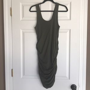 Army green tank ruched dress